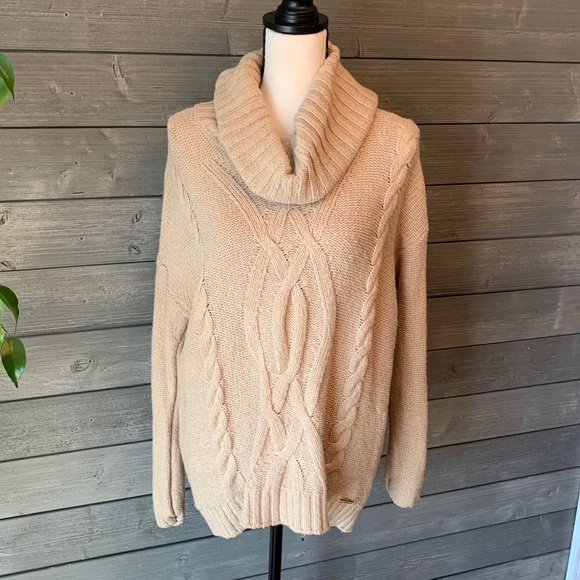 Michael Kors tan cowl neck cable knit sweater lg